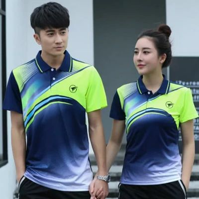 Sports Brand Quick Dry Breathable Badminton Shirt,Women Men Table Tennis Team Running Fitness Exercise Training Polo T Shirts