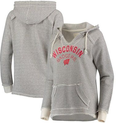 Wisconsin Badgers Blue 84 Women's Striped French Terry V-Neck Pullover Hoodie - Cream
