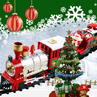 Toy Train Set with Lights and Sounds Christmas Train Set  Railway Tracks Battery Operated Toys Xmas Train Gift for Kids GK1125