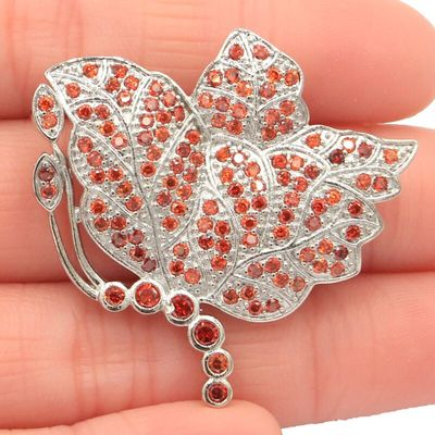 37x35mm SheCrown Big Butterfly Shape 6.1g Orange Spessartine Garnet Pink Kunzite Woman's Silver Brooch