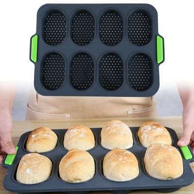 8 Grids DIY Silicone Hamburger Good Flexibility Practical French Heat Resistant Bread Mold Baking Easy Release Home Non-stick