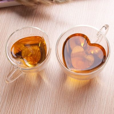Heart Love Shaped Double Wall Glass Mug Creative And Personality  Lover Coffee Cups Mug Gift For Drinking Coffee Or Tea
