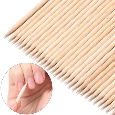 10/30/50Pcs Wood Stick Cuticle Remover Orange Dual-ended Nail Art Designs for Manicure Pedicure Pusher Nail Tools