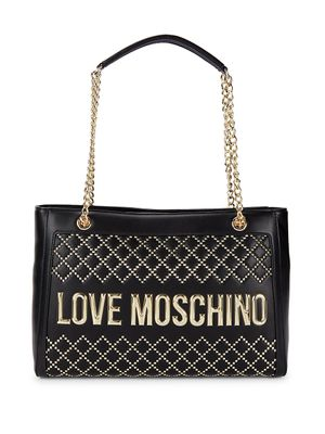 Love Moschino Logo Faux Leather Chain Tote