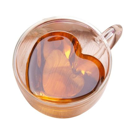 Transparent Heart Shaped Double Walled Insulated Glass Coffee Mug Tea Cups with Handle for Cold or Hot Drinking