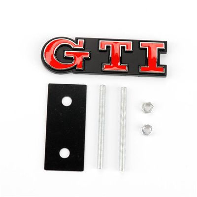 3D Metal Red GTI Car Front Grille Sticker Emblem Badge Car Styling For VW Volkswagen GTI