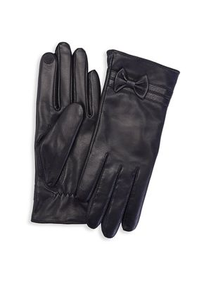 ROYCE New York Cashmere- Lined Touchscreen Leather Gloves