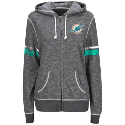 Miami Dolphins Majestic Women's Plus Size Athletic Tradition Full-Zip Hoodie - Charcoal