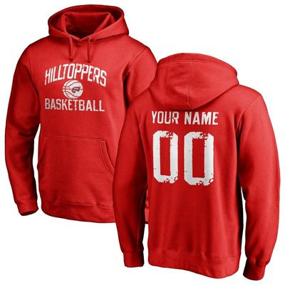 Western Kentucky Hilltoppers Distressed Basketball Pullover Hoodie - Scarlet