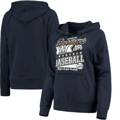 Milwaukee Brewers 5th & Ocean by New Era Women's Raw Edges & Pouch Raglan Pullover Hoodie - Navy