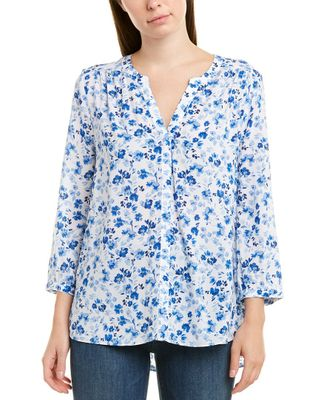 NYDJ 3/4-Sleeve Printed Pintuck Blouse