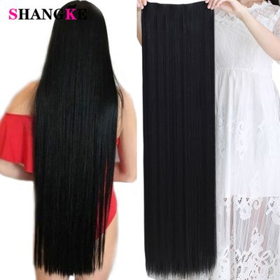 SHANGKE 100 CM Long Straight Women Clip in Hair Extensions Heat Resistant Synthetic Hair Piece Black Dark brown Hairstyle