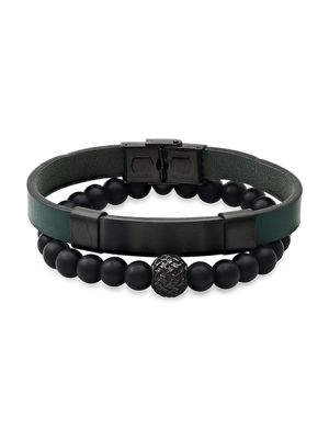Anthony Jacobs 2-Piece Stainless Steel, Leather & Black Lava Beaded Bracelet Set