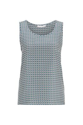 HUGO BOSS - Sleeveless Top In Pure Silk With All Over Print