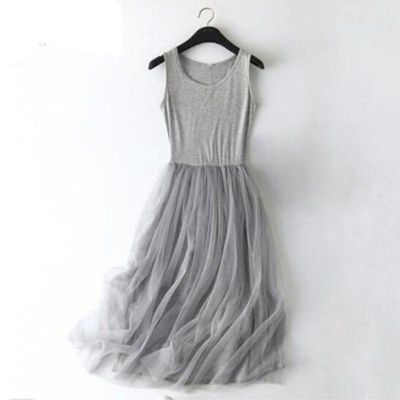 2020 Spring Sleeveless sling Gauze Lace Dress Women Tunic Basic Long Dresses Summer Modal Mesh gray Sexy Dress