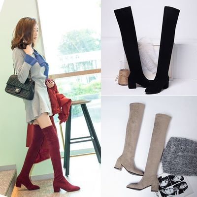 Thigh High Women Boots  Winter Pointed Over The Knee Women High and Thin with Thick and Suede Elastic Boots B10