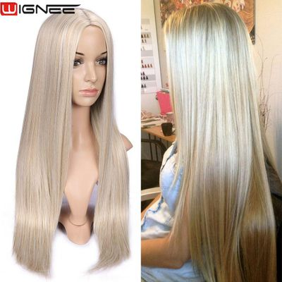 Wignee Long Straight Hair Synthetic Wig For Women  Blonde Natural Middle Part Hair Heat Resistant FiberNatural Daily Hair Wig