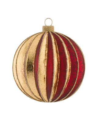 Kat & Annie Burgundy & Gold Molded Round Set Of 6 Ornaments