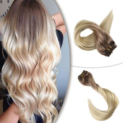 Lowest price! Full Shine Clip in Extensions Ombre Color 7Pcs 100g 100% Human Hair Machine Remy Clip in Dyed Double Weft Hair