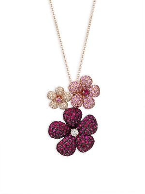 Effy 14K Rose Gold, Ruby, Pink Sapphire & Diamond Flower Pendant Necklace