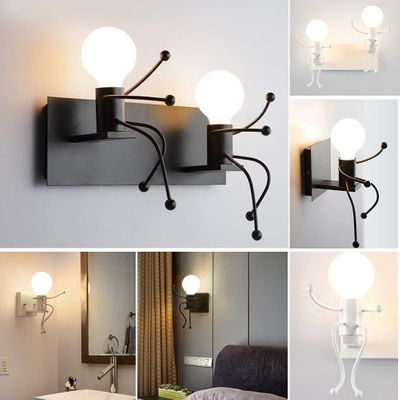 Double Head Modern Indoor Robot Wall Light Creative Personality Bedside Corridor Metal Hanging Lamp For Room Decorate