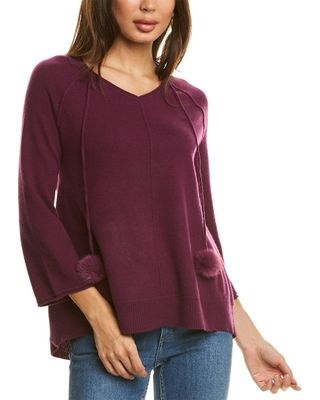 InCashmere Tie-Neck Cashmere Sweater