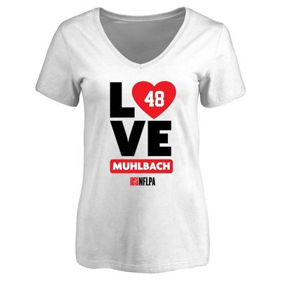 Don Muhlbach Fanatics Branded Women's I Heart V-Neck T-Shirt - White
