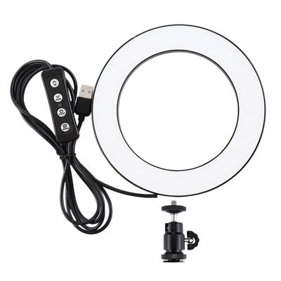 4.6 Inch Usb 3 Modes Dimmable Photography Photographic Studio Ring Light Led Video Light & Cold Shoe Tripod Ball Head