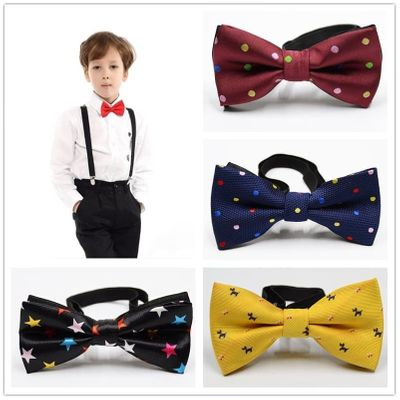 Children Bow Tie Baby Boy Kid Clothing Accessories Solid Color Gentleman Shirt Neck Tie Bowknot Dot Party Fashion Bowtie Ties