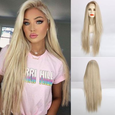 TINY LANA Golden Blonde Lace Front Synthetic Wigs Long Straight Natural Hairstyle for Women Party Daily Wear Heat Resistant