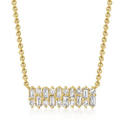 Ross-Simons Baguette and Round Diamond Necklace in 14kt Yellow Gold