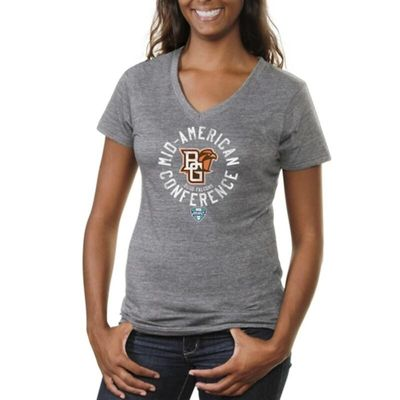 Bowling Green State Falcons Women's Conference Stamp Tri-Blend V-Neck T-Shirt - Ash