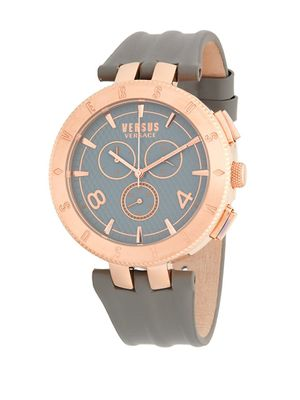 Versus Versace Rose-Goldtone Stainless Steel Leather Strap Watch