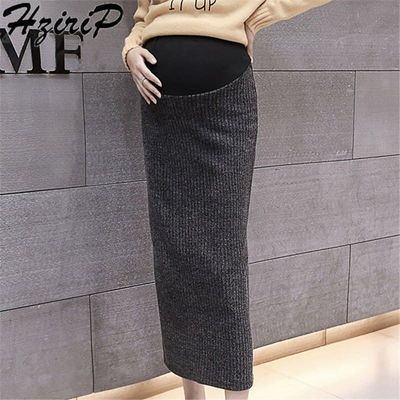 HziriP Knitted Casual Female Fork Summer Solid Bud New Style Loose Mid-Calf Pregnant Skirts Simple Maternity Skirt 2 Colors