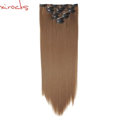 qjz13055/6A 2p Xi.rocks Synthetic Clip in Hair Extensions Straight Hairpiece Clips on the Hair Extension wigs Khaki 6A