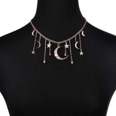 European and American fashion jewelry Bohemian alloy stars moon pendant short necklace ladies