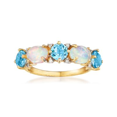 Ross-Simons Opal and Swiss Blue Topaz Ring With Diamond Accents in 14kt Yellow Gold