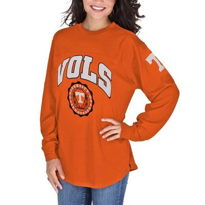 Tennessee Volunteers Pressbox Women's Edith Long Sleeve Oversized Top - Tennessee Orange