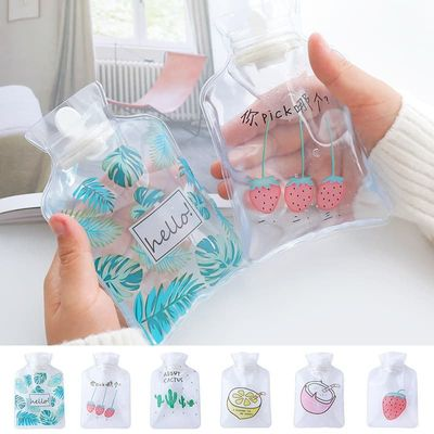 Hifuar Cute Hot Water Bottles Mini Transparent PVC  Hand Warm Water Bottle Portable Leakproof Hand Warmer Heat Therapy Bottle