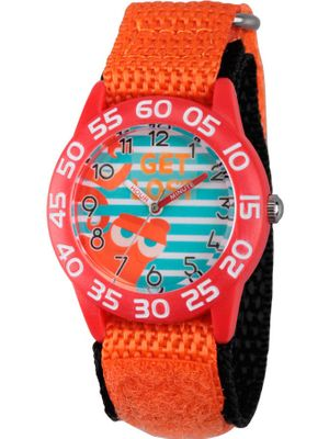 Finding Dory, Hank Boys' Red Plastic Time Teacher Watch, Orange Hook and Loop Nylon Strap with Black Backing