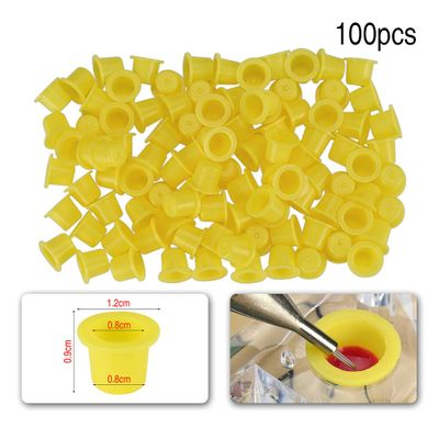 100pcs Small Plastic Tattoo Ink Cups For Permanent Tattoo Holder Container Caps Disposable For Needle Tip Grip tattoo TSLM1