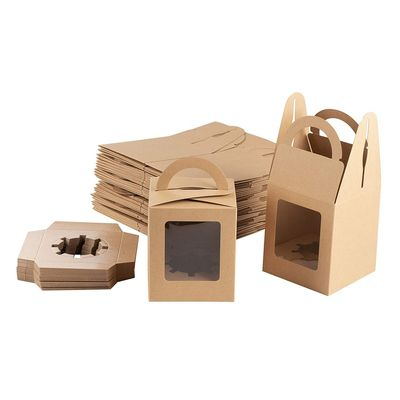 Kraft Paper Cupcake Boxes - 50-Pack Single Bakery Box Packaging with Clear Display Window, Insert, and Handle, Pastry Carrier Disposable Take-Out Container, Holds 1, Brown, 3.7 x 4.2 x 3.7 inches