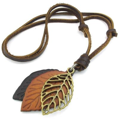 Jewelry Men's Ladies Necklace, Leaf, Adjustable Sizes Alloy Pendant with Leather Necklace