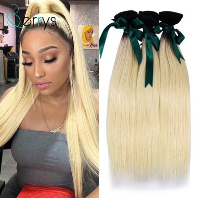 Berrys Hair 10A 1B/613 Blonde Straight Human Hair 1/3/4 PCS Bundle Hair With Black Roots Virgin Hair Double Weft 6-26 Inch