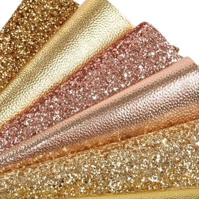 6Pcs 20*34cm Gold Series Synthetic Leather Fabric Set For DIY Handmade Hairbow Bag Sewing Material,1Yc8186