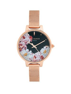 Ted Baker London Floral Dial & Mesh Strap Watch