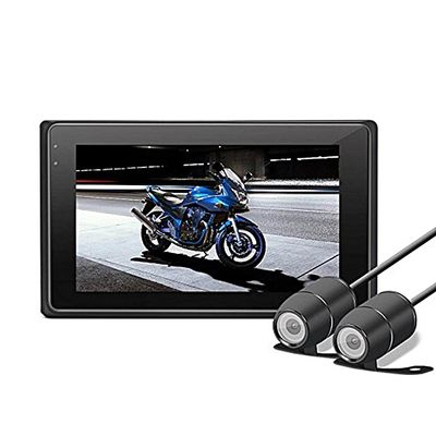 Motorcycle Dash Cam 1080P + 720P Dual Lens 3 Inch LCD Screen Inline Control Motorcycle Driving Recorder Dual Lens Motorcycle Dash Cam Sports Action Camera With WiFi G-sensor Function Waterproof Box BDZ