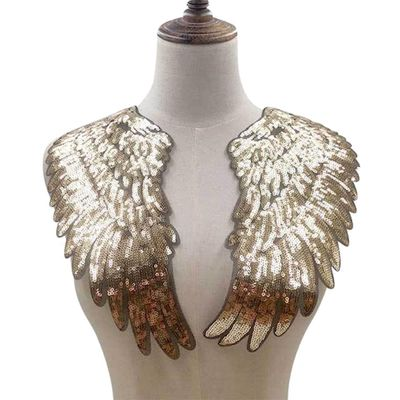 1 Pair 34*35cm Wings Patches Sequined Patch Sew On Iron On Clothes Patch 3D Feather Applique DIY Stickers For Wedding