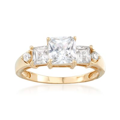 Ross-Simons Princess-Cut and Round CZ Ring in 14kt Yellow Gold
