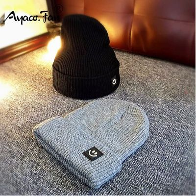 Cute Smile Crochet Knit Cap Beanie 2019 Autumn New Solid Warm Skullies Beanies Caps Female Knitted Hat Ladies Girls Winter Hats